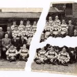 Photograph of rugby team before being restored